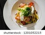 tagliatelle with shrimps ... | Shutterstock . vector #1201052215