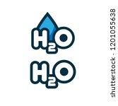 h2o logo concept.cartoon style | Shutterstock .eps vector #1201055638