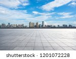 empty square with city skyline  ... | Shutterstock . vector #1201072228