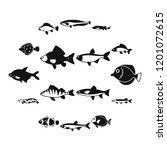 cute fish icons set in simple... | Shutterstock . vector #1201072615