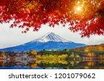 autumn season and mountain fuji ... | Shutterstock . vector #1201079062