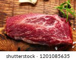 raw slices beef steak on wooden ... | Shutterstock . vector #1201085635