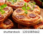 toasts with melted cheese and... | Shutterstock . vector #1201085662