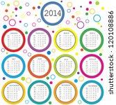colored circles 2014 calendar... | Shutterstock .eps vector #120108886