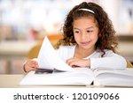 schoolgirl at the library... | Shutterstock . vector #120109066