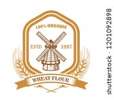 wheat flour label template with ... | Shutterstock .eps vector #1201092898