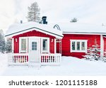 house at reindeer farm in... | Shutterstock . vector #1201115188