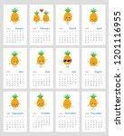 cute monthly calendar 2019 year ...   Shutterstock .eps vector #1201116955