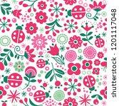 seamless floral retro vector... | Shutterstock .eps vector #1201117048