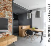 modern apartment with brick...   Shutterstock . vector #1201117135