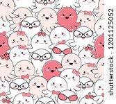 seamless pattern cute baby...   Shutterstock .eps vector #1201125052