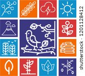 set of 13 nature outline icons...   Shutterstock .eps vector #1201128412
