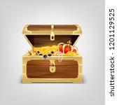 realistic treasure chest... | Shutterstock .eps vector #1201129525