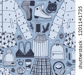hand drawn seamless pattern... | Shutterstock .eps vector #1201141735