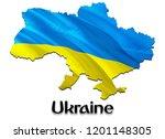 flag map of ukraine. 3d...   Shutterstock . vector #1201148305