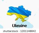 flag map of ukraine. 3d...   Shutterstock . vector #1201148842
