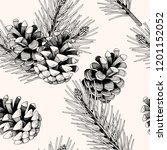 seamless pattern with pine... | Shutterstock .eps vector #1201152052