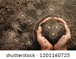 the hands of men are holding... | Shutterstock . vector #1201160725