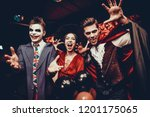 young people in costumes... | Shutterstock . vector #1201175065