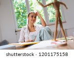 she likes to be creative | Shutterstock . vector #1201175158