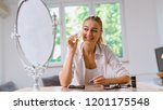 woman video blogger using new... | Shutterstock . vector #1201175548