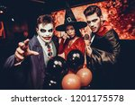 young people in costumes... | Shutterstock . vector #1201175578