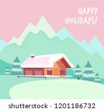 winter snowy landscape with... | Shutterstock .eps vector #1201186732