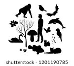 set of silhouettes of different ... | Shutterstock .eps vector #1201190785
