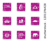 elite rest icons set. grunge... | Shutterstock . vector #1201196428