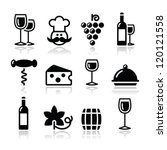 wine icons set   glass  bottle  ...