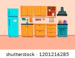 kitchen interior with furniture ... | Shutterstock .eps vector #1201216285