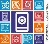 set of 13 web outline icons... | Shutterstock .eps vector #1201217032