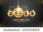 pig is a symbol of the 2019... | Shutterstock .eps vector #1201218325