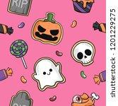 halloween ghost pumpkin candy... | Shutterstock .eps vector #1201229275