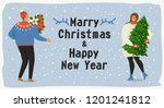 christmas and happy new year...   Shutterstock .eps vector #1201241812