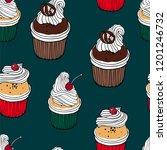 cherry cupcake  chocolate... | Shutterstock .eps vector #1201246732