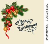 christmas background with fir... | Shutterstock .eps vector #1201261102