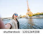 young woman tourist making... | Shutterstock . vector #1201269208