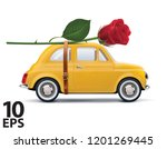 retro car with red rose... | Shutterstock .eps vector #1201269445