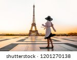 woman dressed in coat and hat... | Shutterstock . vector #1201270138