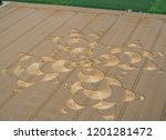 crop circle in a cornfield at... | Shutterstock . vector #1201281472