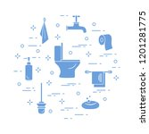 toilet bowl  toilet paper  soap ... | Shutterstock .eps vector #1201281775