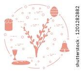 easter symbols. easter cake ... | Shutterstock .eps vector #1201282882