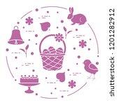 easter symbols. simnel cake ... | Shutterstock .eps vector #1201282912