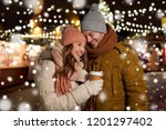 winter holidays  hot drinks and ... | Shutterstock . vector #1201297402