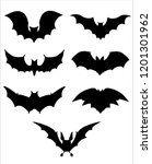 halloween icons set of bats in... | Shutterstock .eps vector #1201301962