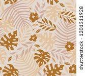 vector seamless tropical leaves ... | Shutterstock .eps vector #1201311928