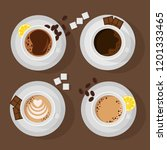 four cups with different coffee ... | Shutterstock .eps vector #1201333465