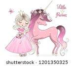 Stock vector hand drawn beautiful cute little unicorn with princess girl vector illustration 1201350325