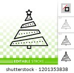 christmas tree thin line icon.... | Shutterstock .eps vector #1201353838